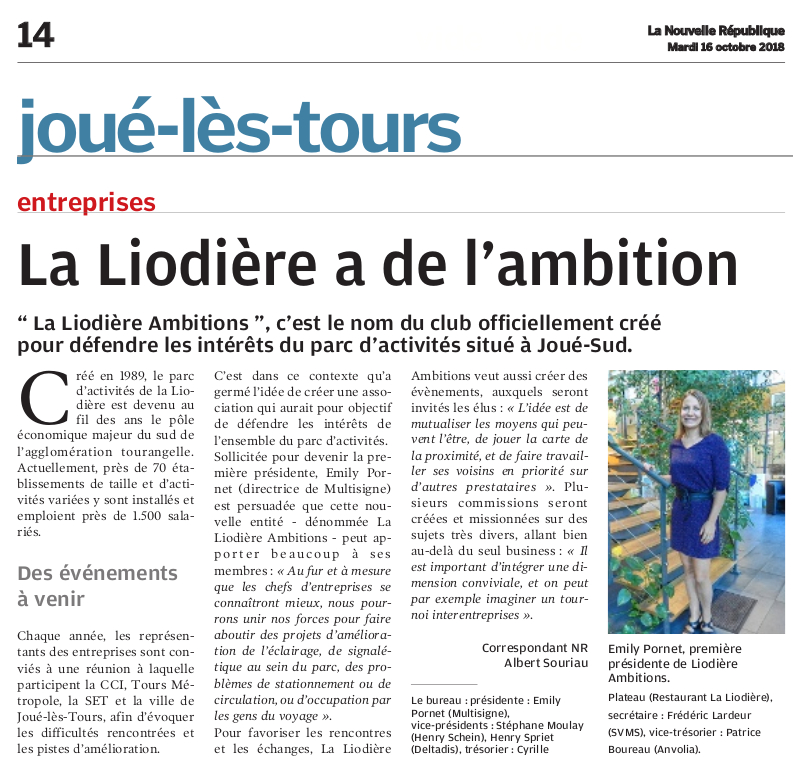 Article NR - La Liodière Ambitions